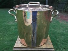 "Mauviel 9.5"" Vintage Made n France Copper Stockpot Tin Lining Lid Bronze Handles"