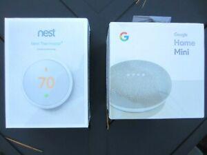 Google Nest Thermostat E White T4000ES w Google Home Mini BOTH NEW & SEALED !