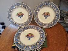 "Wedgwood EIGHT Blue Florentine fruit center bonechina 10 1/2"" dinner plates W597"