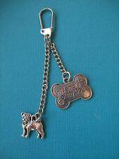 Pug Dog Memorial 2x Charms Keyring Metal Bag In Memory Of My Dog Key Ring