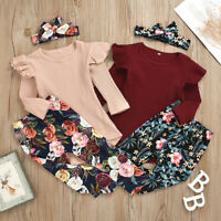 3pcs Toddler Infant Girls Outfits Headband+Tops+Floral Pants Kids Clothes Set