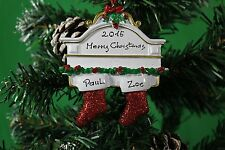 Personalised Couples Christmas Tree Ornament Decoration - White Mantle Couple