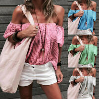 Summer Womens Fashio Casual Off-the-shoulder Sexy Tops Print Holiday Vest Blouse