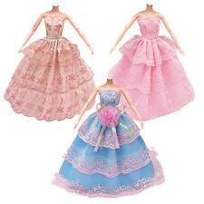 3x  Handmade Dolls Clothes Wedding Party Dress For Barbie Dolls Girl 2018
