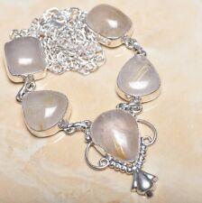 "Handmade Natural Rutilated Quartz Jasper 925 Sterling Silver Necklace 20"" N00400"