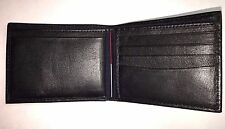 Tommy Mens Black Leather  Bifold Wallet -Genuine top grain leather