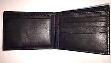 Nautica Mens Black Leather  Bifold Wallet -Genuine top grain leather