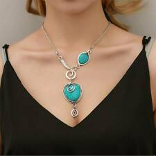 Tibetan Silver Blue Turquoise Chain Heart Pendant Necklace Fashion Jewelry Gift