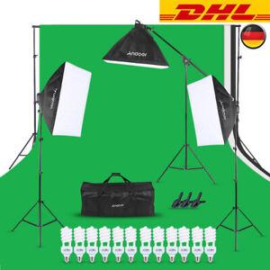 Fotostudio Set Videoleuchte Beleuchtung Licht Kit Hintergrund+5in1 Faltreflektor