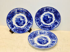 3 ANTIQUE BURGESS AND LEIGH FLOW BLUE NONPAREIL PATTERN 8 3/4 INCH PLATES