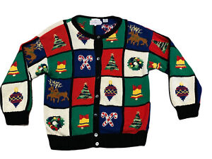 Westbound Petite, Medium Ugly Sweater Cardigan Knitted Made by Hand Christmas