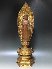Japanese Japan,Buddhism Jodo shu wooden Buddha statue of Amitaba 35.5cm 仏像 に