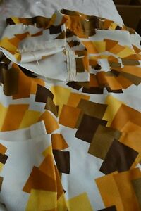 """Vintage 1960s curtains geometric mustard white yellow d 32"""" w 46"""""""