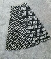 VINTAGE JAEGER Black Patterned Midi Skirt Size 10 25 inch Waist