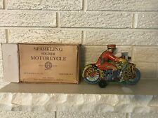 MArx Tin Litho Wind Up Sparkling Motorcycle Soldier W Box