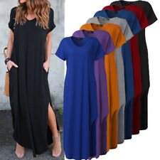 ZANZEA Women Summer Short Sleeve Baggy Side Slit Tee Tops Maxi Long Dress Kaftan
