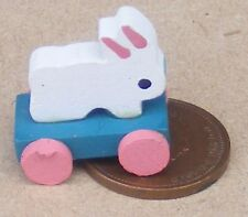 1:12th Scale Pull Along Wooden Rabbit On Wheels Tumdee Dolls House Nursery Toy