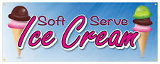 Soft Serve Ice Cream #01 Banner Refreshing Flavors Concession Stand Sign 36x96