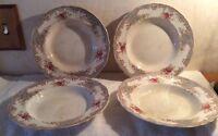 "Set 4 T&R BOOTE 1800s 9"" salad PLATES WATERLOO POTTERIES RoseBud Antique vintage"
