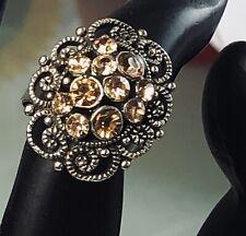 Adjustable Goldentone Ring With Brown Rhinestones