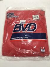 New Vtg 80s Bvd Pocket Tee T-Shirt Large (42-44) Blank Red Made In Usa Deadstock