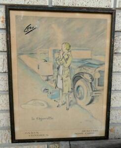 """early """"la Cigarette"""" PRINT Ciro PARIS LONDRES DEAUVILLE MONTE-CARLO Hauro 1929"""