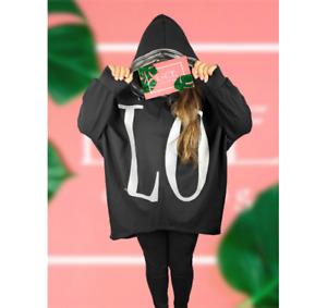 NEW Womens Oversize Luxury LO VE Bold Print LAGENLOOK Hooded Sweatshirt Top