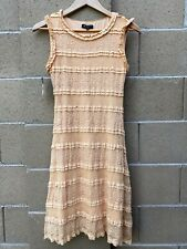 Ebza Women's Stretch A-Line Lace Dress Size S Sleeveless Crew Neck Lined Peach