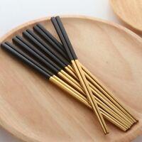 5 Pairs Chopsticks Stainless Steel Chinese Gold Set Black Metal Chop Sticks T1O3