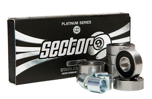 Sector 9 PLATINUM SERIES ABEC 9 Skateboard Longboard Bearings with FOUR SPACERS