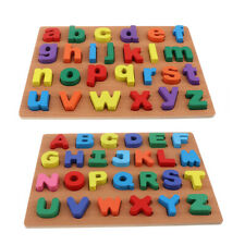 2 Set Wooden Alphabet Puzzle Board Kids Toy Capital + Lowercase Letters