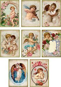 Vintage Valentine cherub angel antique illustrations set of 8 scrapbooking