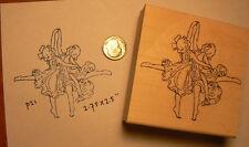 """P21 Dancing children vintage rubber stamp Wm 2.75x2.5"""""""
