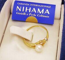 Anello Vintage Nihama Gold Oro 18KT Perla e Brillantino OMA19