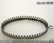 Quality Cast 40x30mm Oval Bezel Cup Antique Oxidized 925 Sterling Silver (8392)