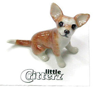 ➸ LITTLE CRITTERZ Dog Miniature Figurine Chihuahua Brown Tan Rascal