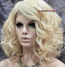 "20"" Bob Wavy Layered Bleach Blonde Mix Full Lace Front Wig Heat Ok Hair Piece"