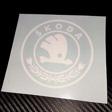 WHITE Skoda Circular Badge Logo Car Sticker Decal Graphic