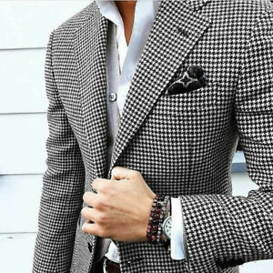 Men Houndstooth Dogstooth Suit Jacket Check Prom Tuxedo Party Dinner Blazer
