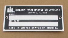 Id Serial Number Plate For Ih International Farmall 1066 1456 544 656 666 756