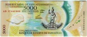 Vaniatu 5000 Vatu 2017 🔸UNC🔸 P-19 Polymer Banknote - k166
