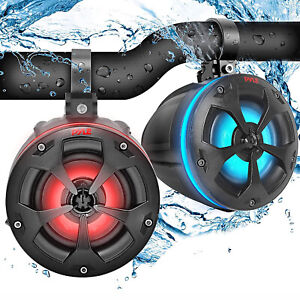 Pyle Compact 2 Way Marine Grade Tower Speakers System with RGB Lights (2 Pack)