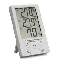 Digital Indoor/Outdoor Temperature/Humidity Monitor Thermometer Hygrometer Clock