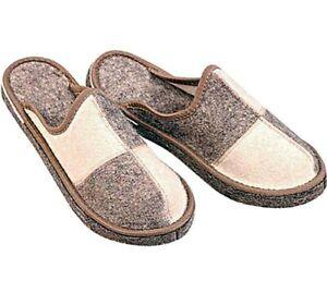 Russian Felt Men's Slippers 100% Sheep Wool Warm Cozy Home Shoes NOT SLIPPERY