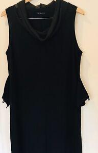 Singular Barcelona Women Black Contrast Midi Sleeveless A Line Dress Size14
