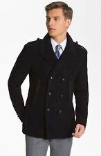 Burberry London Leather Trim Moleskin Double Breasted Black Coat Jacket $1,400+t