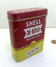 BIDON D'HUILE ANCIEN publicitaire SHELL X 100 BOITE A CIGARETTE