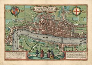 London 1582 (old map, vintage view, antique plan) by Braun & Hogenberg