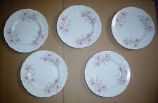 Pretty Set Of 5 Side Plates Paragon China Blue And Pink circa 1960's