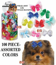100 pc Multi Color SATIN POLKA DOT w/TULLE RIBBON DOG HAIR BOWS Groomer Grooming